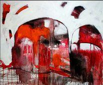 Abstrakt, Gesicht, Rot, Moderne kunst