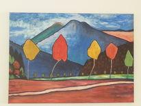 Landschaft, Herbst, Baum, Vulkan