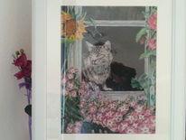 Blumen, Spanien, Wasserfarbe, Katze