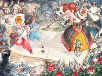 Alice in wonderland, Fantasie, Aquarellmalerei, Aquarell