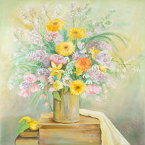 Zitrone, Sommer, Stillleben, Blumen