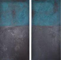 Abstrakte malerei, Türkis, Rot schwarz, Mischtechnik