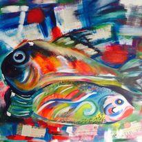 Abstrakt, Acrylmalerei, Meer, Mischtechnik