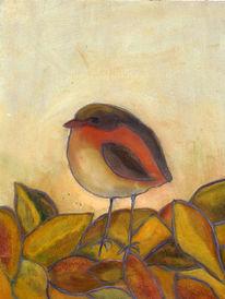 Malerei, Rotkehlchen, Herbstlaub