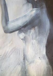 Frau, Akt, Seitenansicht, Malerei