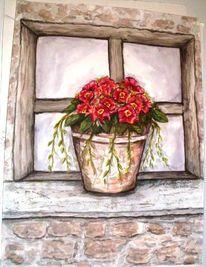 Alt, Fenster, Jahreszeiten, Blumen