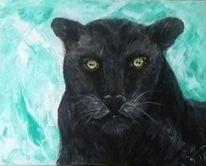 Aufmerksamkeit, Black panther, Türkis, Malerei