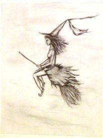 Bleistiftzeichnung, Zeichnung, Märchenhaft, Hexe