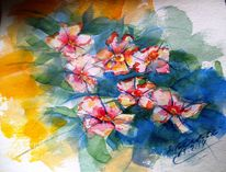 Sommer, Abstrakt, Blüte, Aquarellmalerei