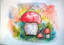 Märchenhaft, Pilze, Pflanzen, Aquarellmalerei