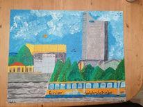 Architektur stadt, Leipzig, Vergangenheit, Gemälde