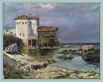 Meer, Landschaft, Ölmalerei, Karton