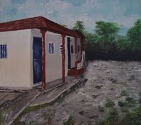 Gebäude, Landschaft, Mexiko, Acrylmalerei