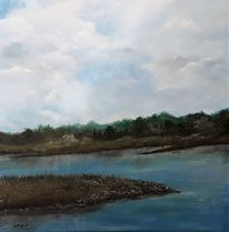 Fluss, Landschaftsmalerei, Wolken, Landschaft