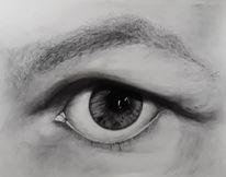 Portrait, Augen, Kohlezeichnung, Blick