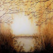 Gras, Landschaftsmalerei, Licht, Ocker