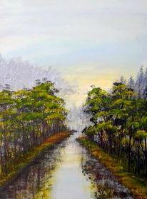 Malerei, Fluss, Sonne, Wald