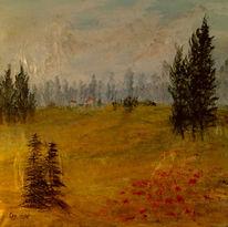 Idylle, Berge, Dorf, Acrylmalerei