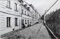 Stadt, Schwarz weiß, Straße, Häuser
