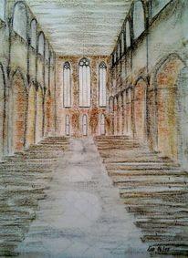 Kloster, Einkehr, Architektur, Pastellmalerei