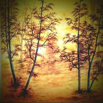 Landschaft, Herbstwald, Wald, Gelb