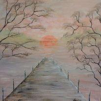 Acrylmalerei, Natur, Sonne, Landschaft