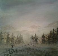 Wald, Nebel, Landschaft, Acrylmalerei