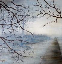 Steg, Natur, Wald, Nebel