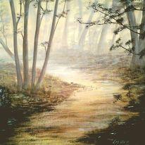 Idylle, Wald, Sonnenaufgang, Tau