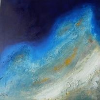 Acrylmalerei, Weite, Wasser, Nebel