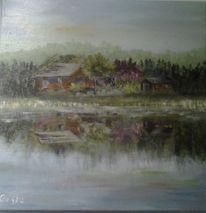 Spiegelung, Landschaft, Wasser, Malerei