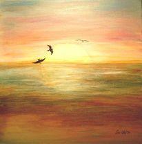 Gefühl, Meer, Sonnenaufgang, Vogel