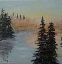 Idylle, Acrylmalerei, Baum, Wasser