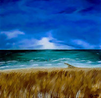 Landschaftsmalerei, Wasser, Sand, Acrylmalerei