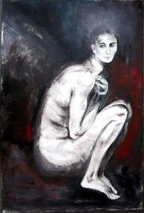 Weiß, Akt, Rot schwarz, Ölmalerei