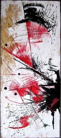 Weiß, Rot schwarz, Abstrakt, Malerei