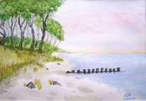Aquarellmalerei, Ostsee, Strand, Aquarell