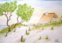 Ostsee, Aquarellmalerei, Strand, Haus am meer