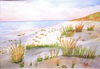 Strand, Ostsee, Aquarellmalerei, Malerei