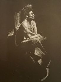 Kreativ, Bleistiftzeichnung, Pastellmalerei, Frau