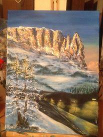 Berge, Malerei, Alm