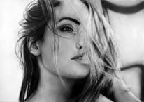Zeichnung, Frau, Bleistiftzeichnung, Angelina jolie