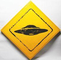 Schild, Linoldruck, Prototyp, Ufo