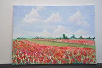 Ölmalerei, Mohnfeld, Rot, Malerei