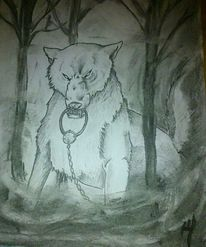 Wolf, Zeit, Mischtechnik, Zeichnung