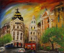 Stadt, Rot, Bunt, Ölmalerei