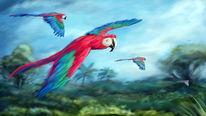 Fliegen, Regenwald, Papagei, Malerei