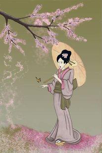 Kirschblüte, Geisha, Japanisch, Schmetterling
