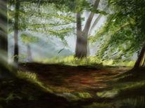 Wald, Licht, Weg, Malerei