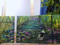 Fluss mit seerosen, Spachteltechnik, Landschaft, Malerei
